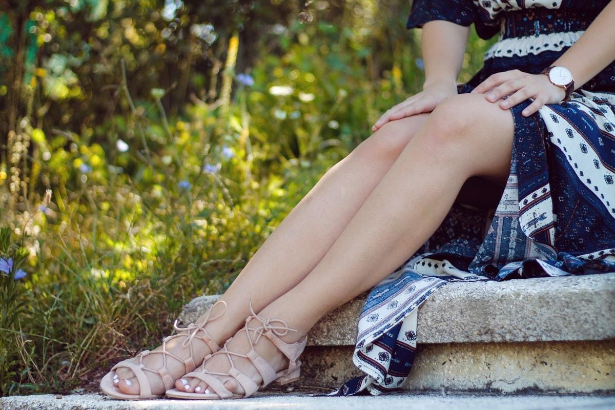 sandale nude, fara toc, cu sireturi