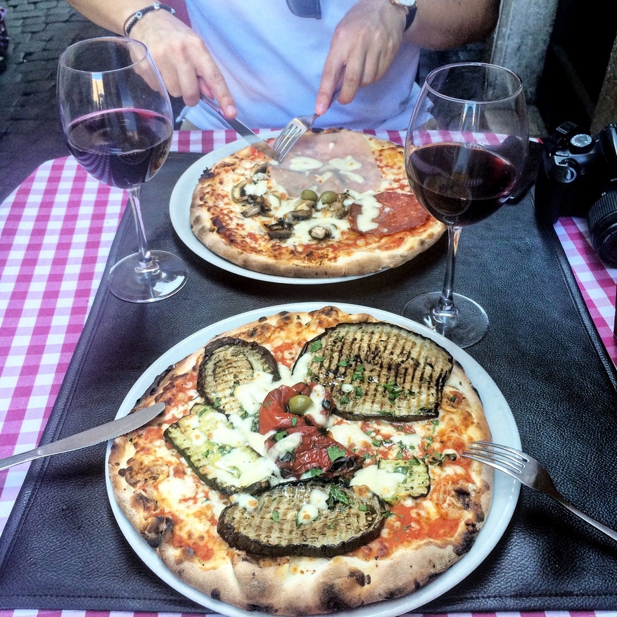 pizza vegetariana cu vinete, piata navona