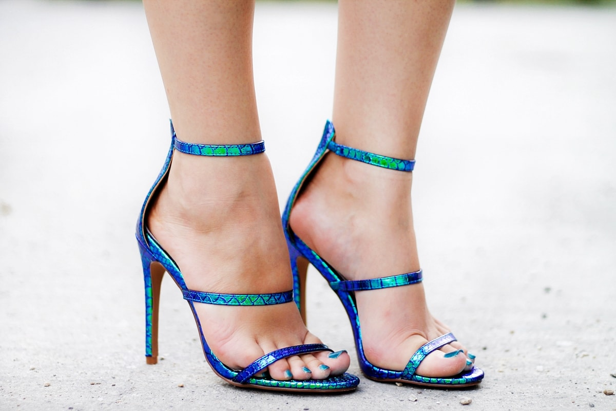 Sandale cameleon Ami Club Wear sandals, blue green, heeled