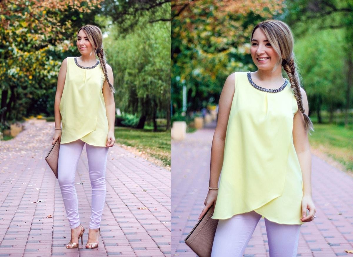 tinuta primavara vara - pasteluri: top galben pal, bluza, blugi/pantaloni skinny lila, sandale cu toc aurii, plic beige