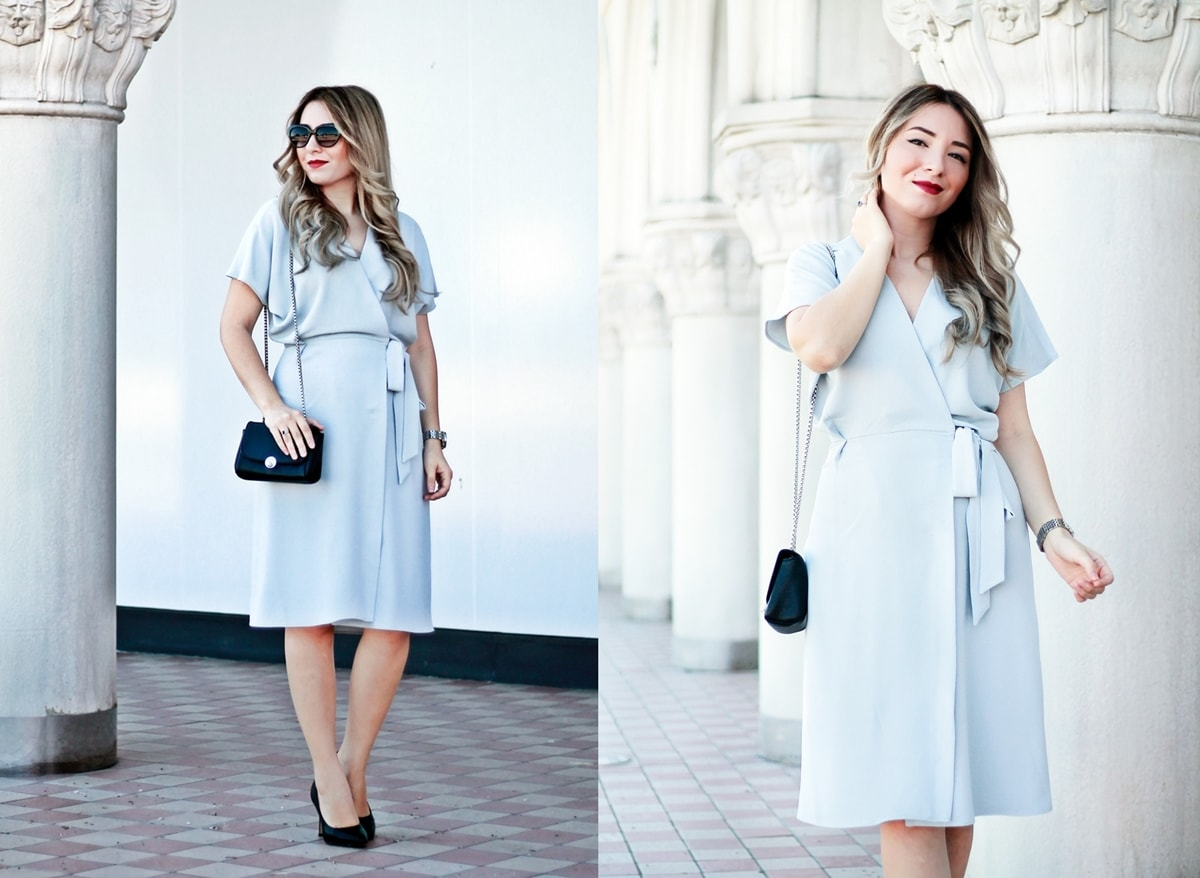 street style - fashion blogger andreea ristea grey dress-min