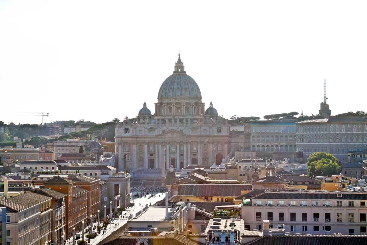 basilica sf petru, vatican, view from top of sant'angelo castel