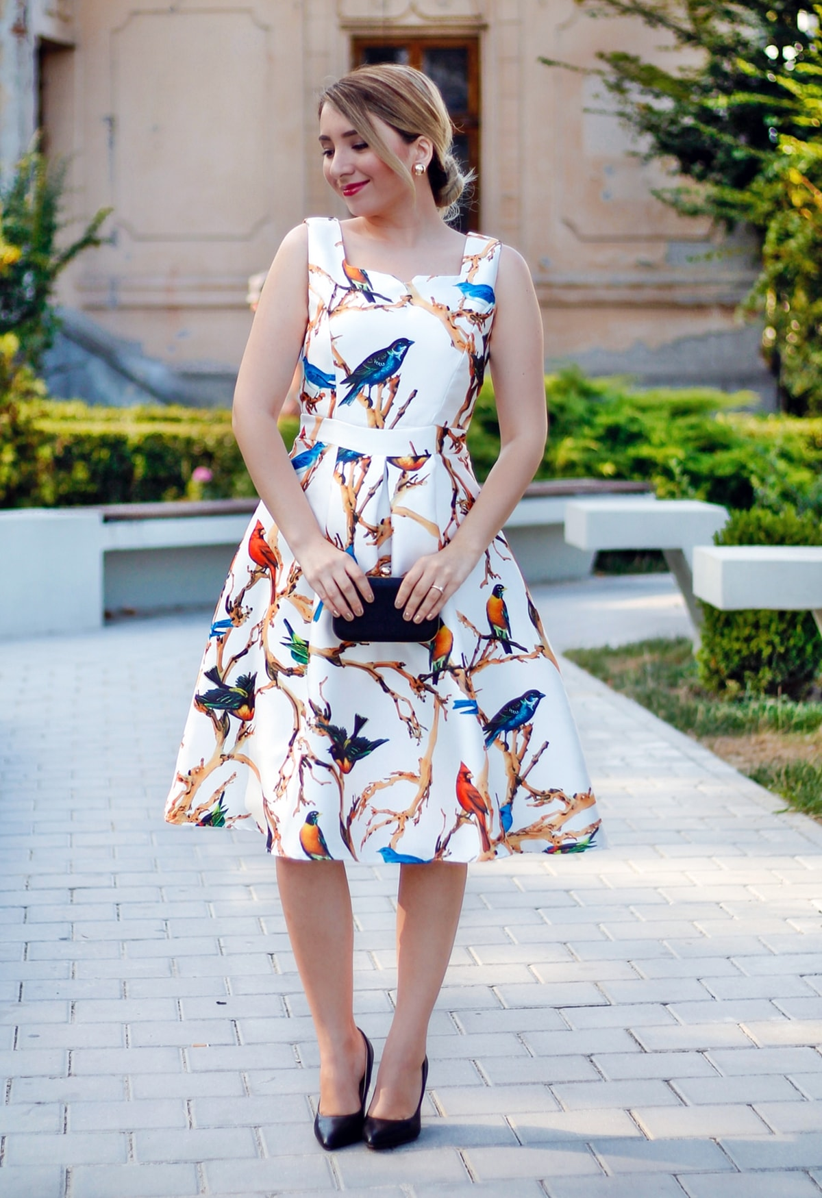 street style, romantic vintage birds print dress, midi, civil wedding look, andreea ristea