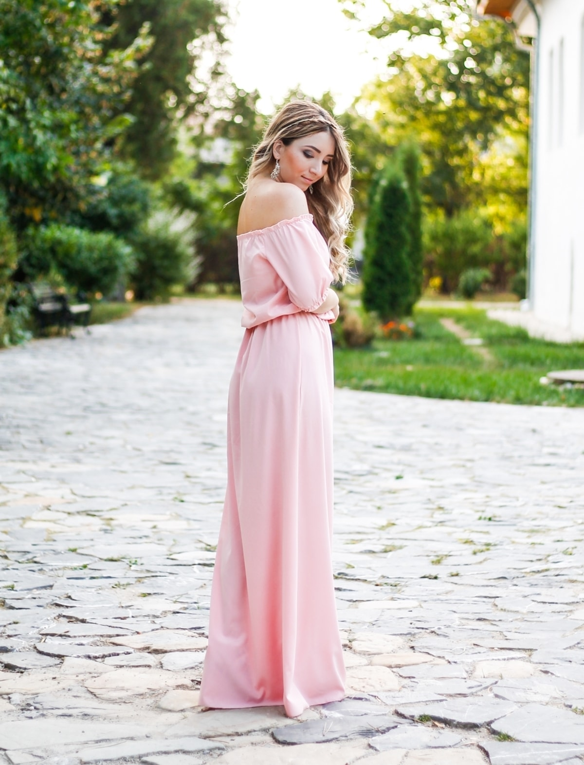 Bridesmaid dress, blogger andreea ristea, wedding, pale pink, look, hair, make up and styling