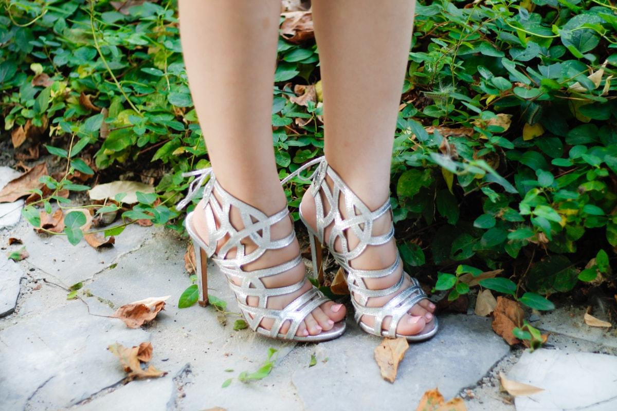Sandale cu toc argintii