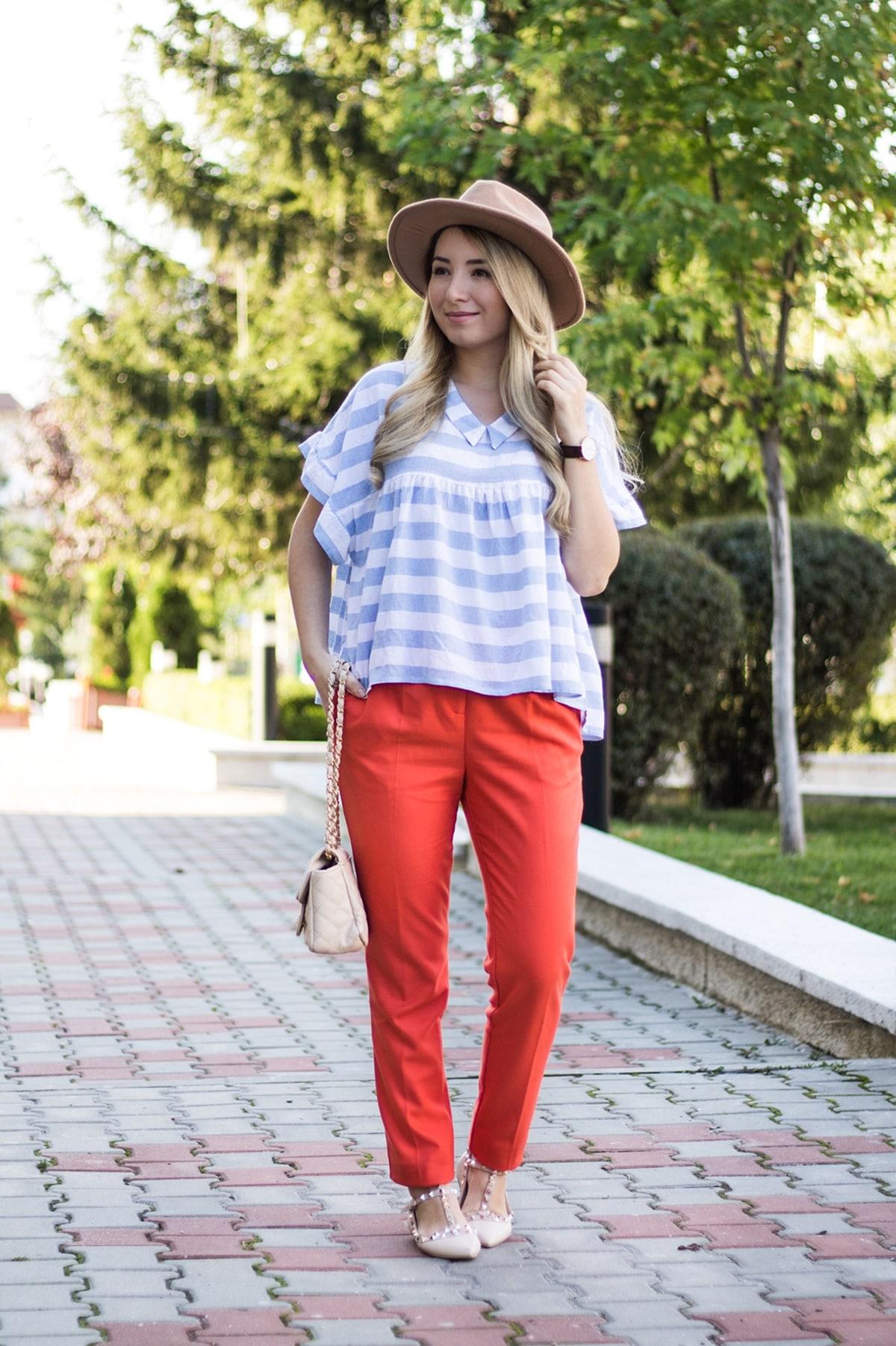 Cum sa porti o pereche de pantaloni orange/portocalii? tinuta de toamna andreea ristea