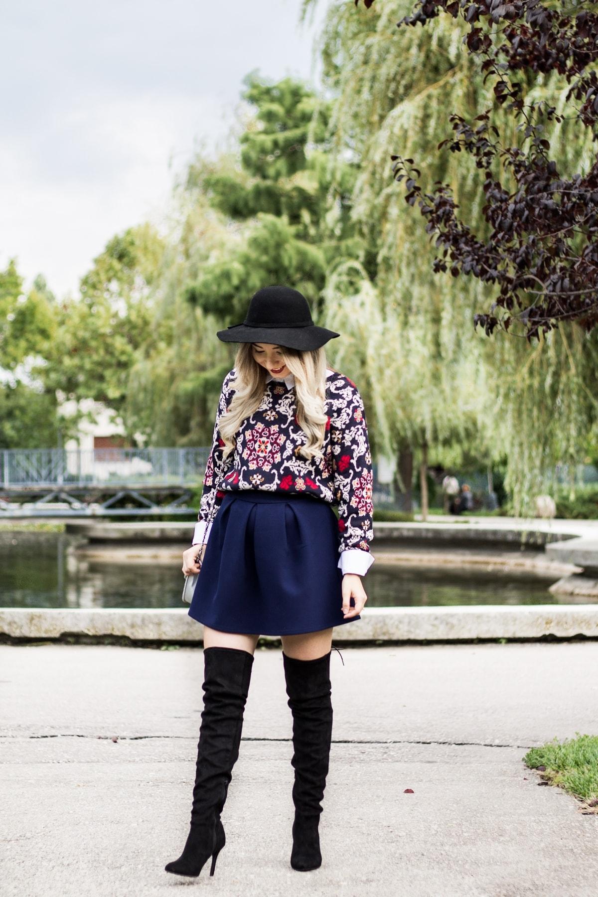Andreea Ristea - street style, tinuta toamna, cum purtam palariile si cizmele peste genunchi