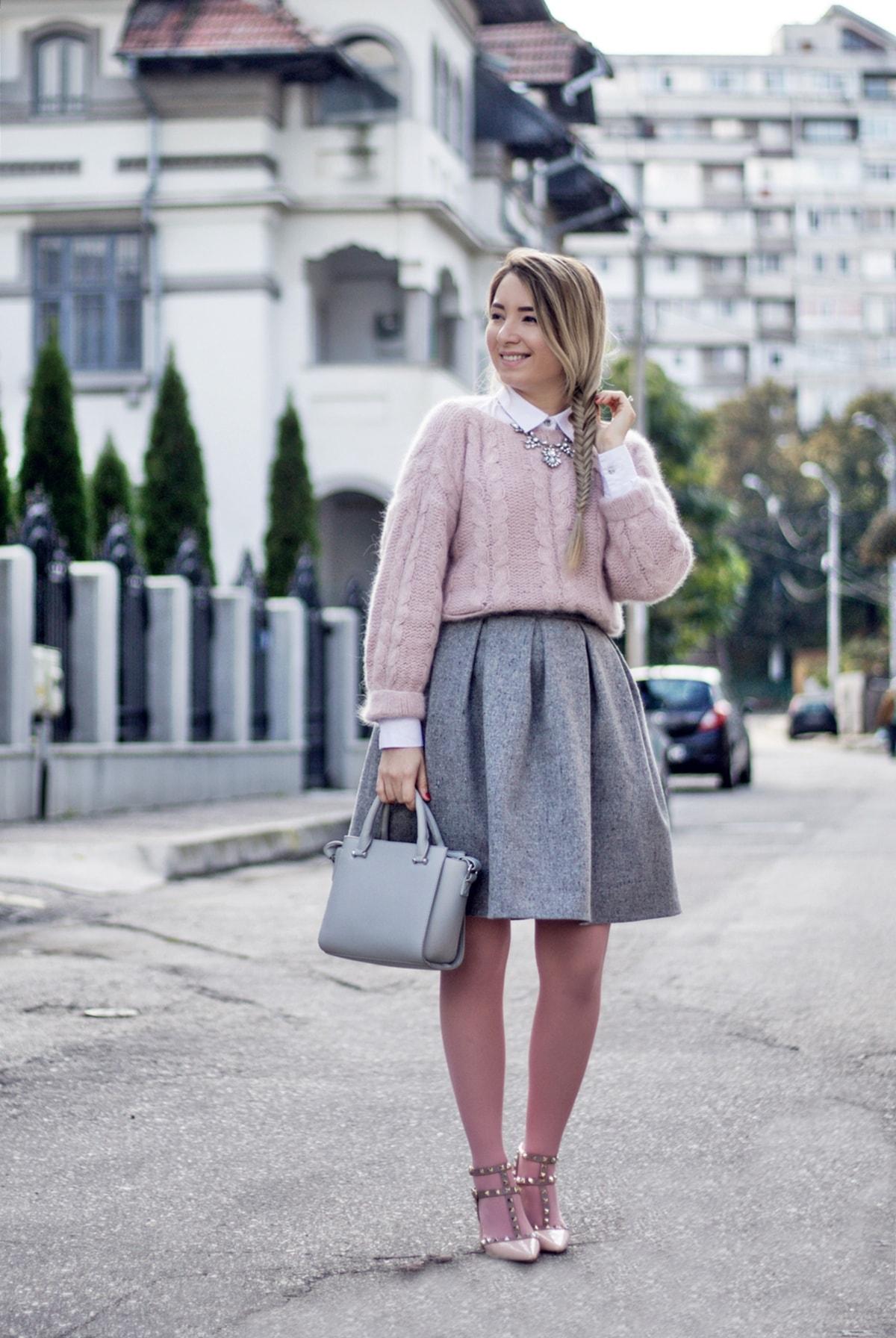Andreea Ristea - culori pastelate toamna, fusta cu pliuri gri, andreea design