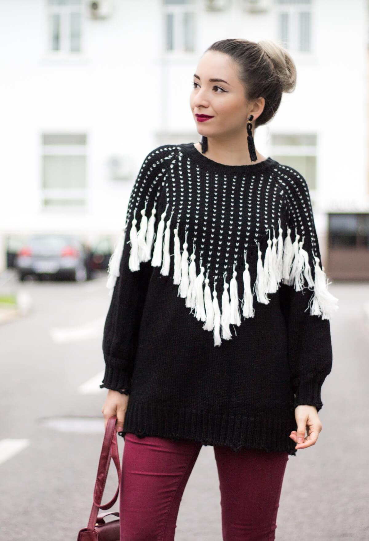 pulover cu franjuri, ciucuri, oversized, alb negru