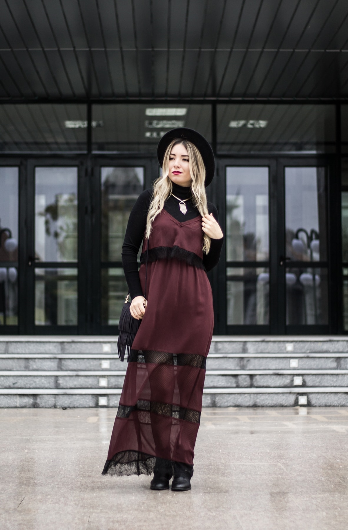 Street style: burgundy slip dress, black lace, black turtleneck, autumn, aw 16/17 trends, hm, zara, blogger andreea ristea