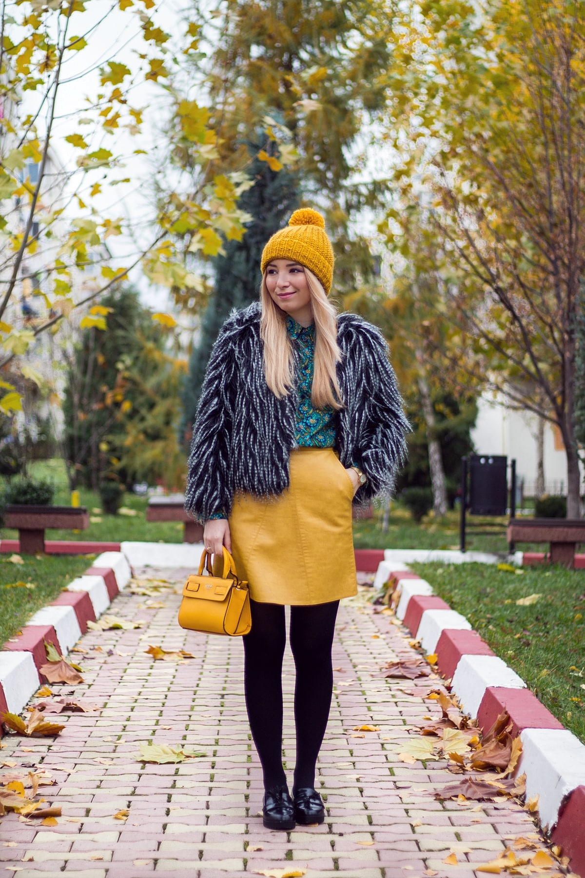Street style: autumn, winter, outfit, yellow a line skirt, faux fur black and white, yellow bag, yellow hat, fashion blogger, andreea ristea, green shirt, ootd, outfit of the day, 2016
