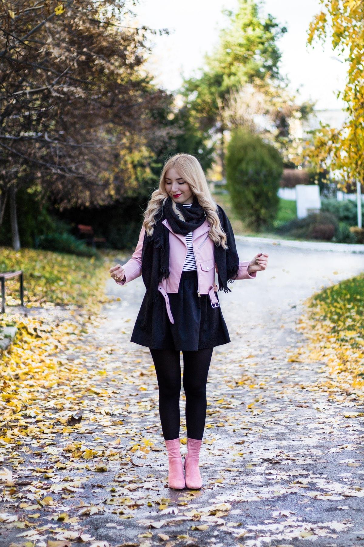 Tinuta de toamna, cum sa asortezi culorile, pantofi, botine roz, geaza Zara roz,cum purtam roz cu negru, Andreea Ristea