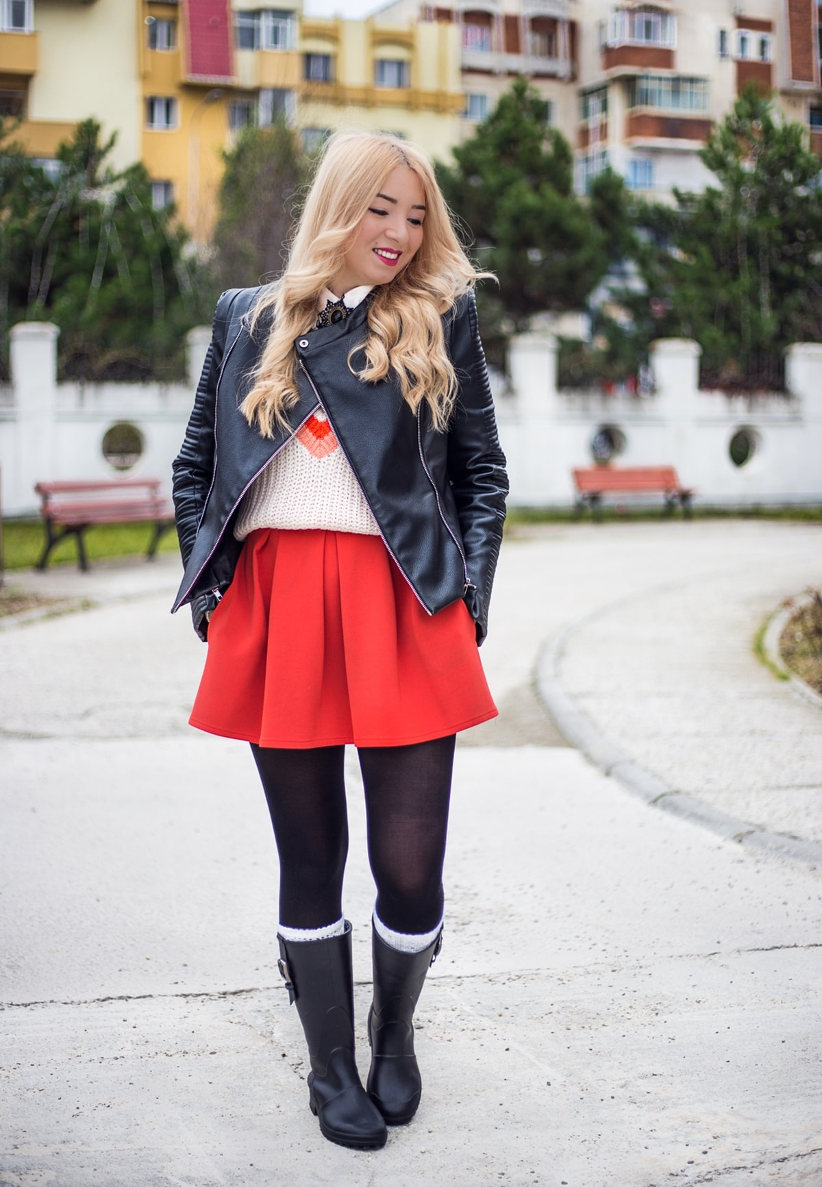 Street style, autumn look 2016 2017, red pleated short skirt, rain boots with white socks, black boots, black jacket, tights, Andreea Ristea