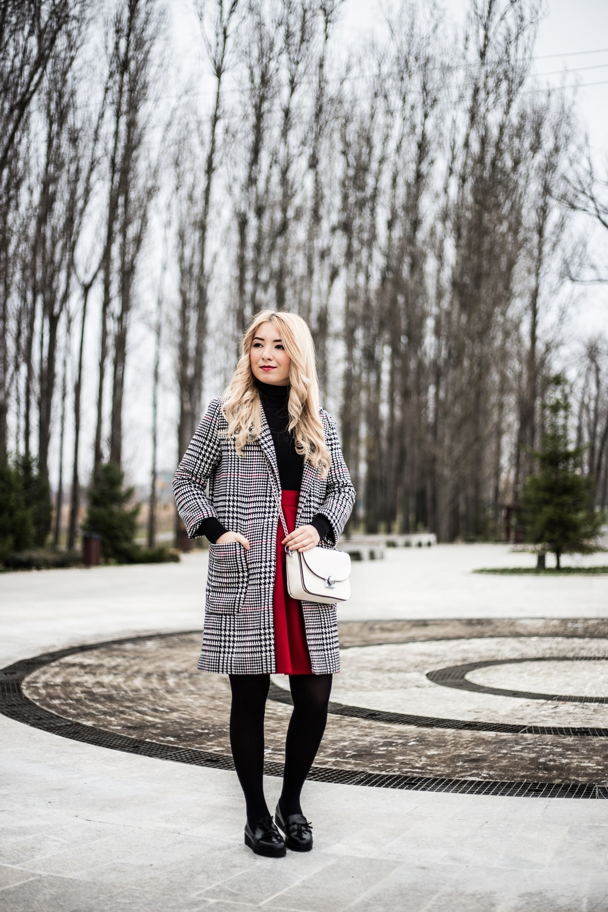 street style, plaide coat, tartan coat, red skirt, winter outfit, black loafers, black turtleneck, white crossbody bag, blogger, fashion, ootd, andreea ristea