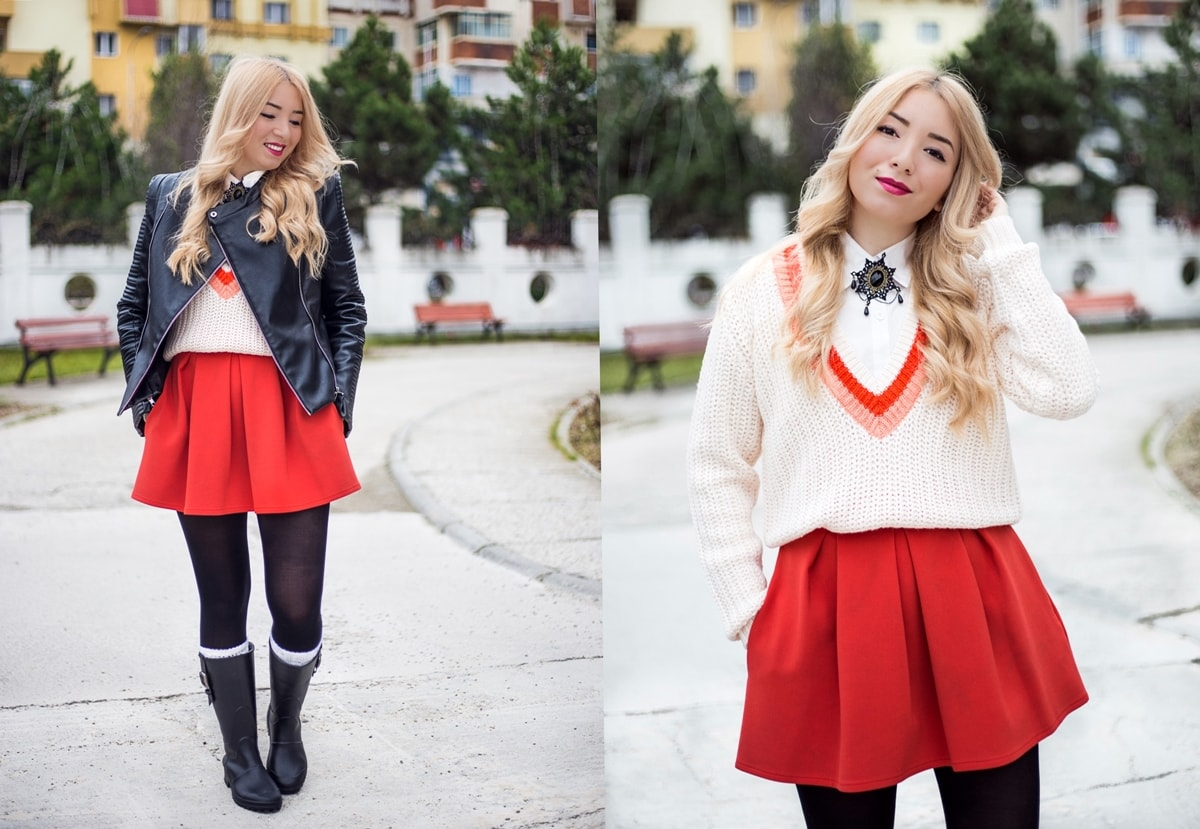 autumn-look-with-red-skirt-and-rain-boots-min