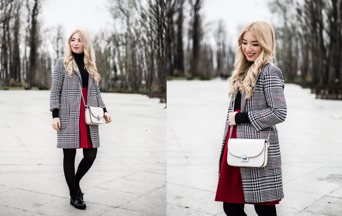 tartan, plaide coat, outfit, winter