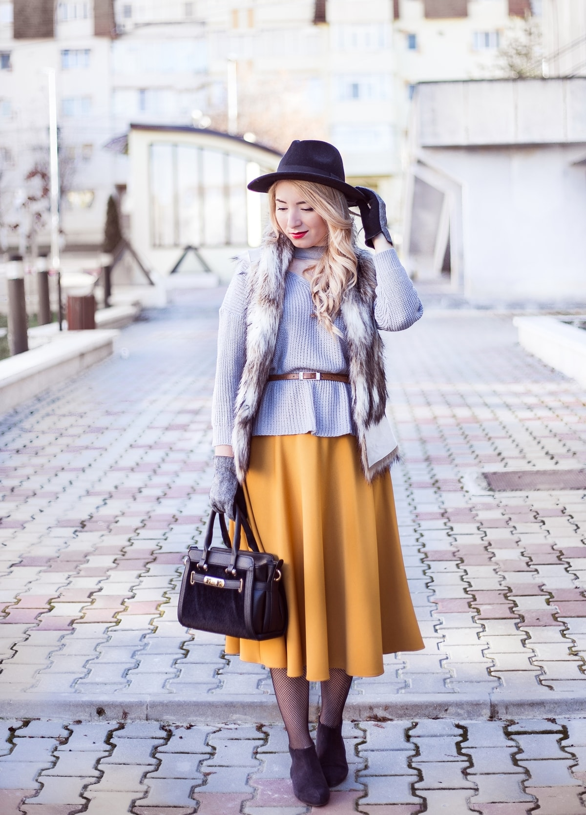 Street style, grey choker sweater, midi yellow skirt, fur vest, zara, black bag, black hat, 50s fashion look, inspired, the dressmaker, Andreea Ristea, winter look, outfit