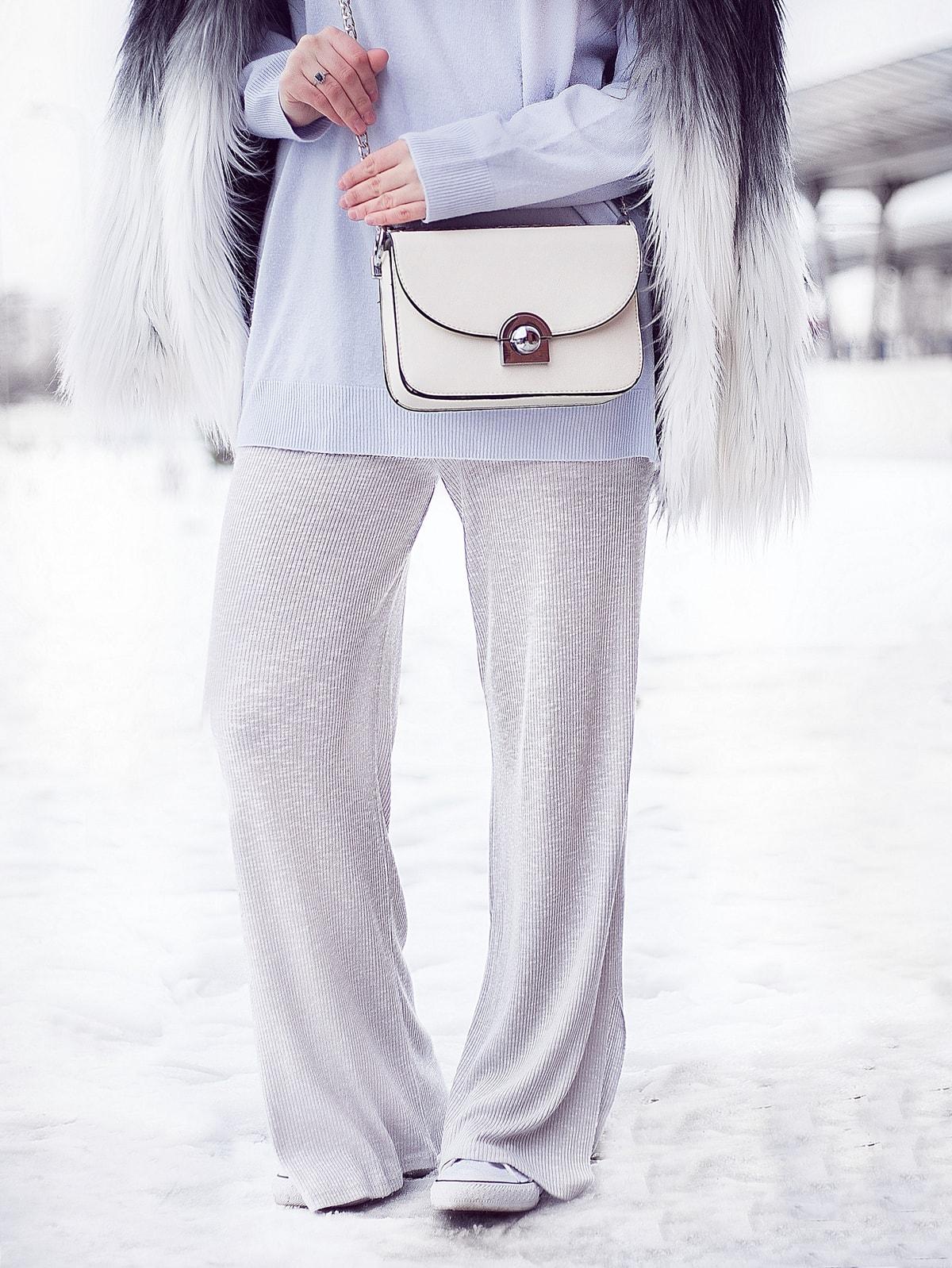 Pantaloni din tricot, gri, pull and bear, 2017, iarna, tinuta, blogger