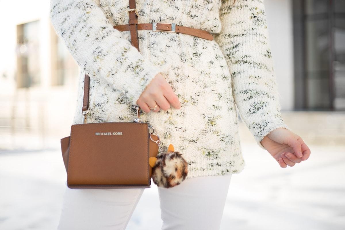 Geanta Michael Kors, Mini Selma, maro, brown, geanta cu breloc leopard